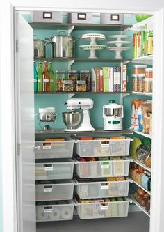 Lovely Pantry - organized and pretty to look at, and not a big area, either.