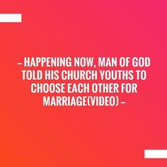 Love a good read? Grab your cuppa for this one. ☕️ Happening now, man of God told his church youths to choose each other for marriage(video) http://www.emarcelworld.com/2017/07/happening-now-man-of-god-told-his.html?utm_campaign=crowdfire&utm_content=crowdfire&utm_medium=social&utm_source=pinterest