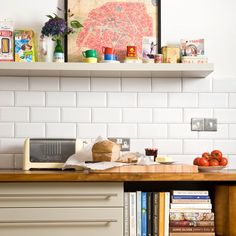 Modern kitchen with white brick tiles | modern kitchen design ideas | Ideal Home | Housetohome.co.uk
