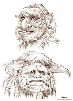 Pumpkin carving idea. Hoggle and Ludo from Labyrinth. Sketch by...I don't know who.