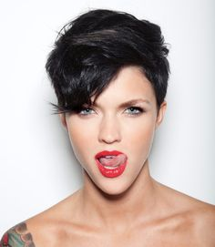 Ruby Rose Ruby Rose Langenheim girl female woman short hair grey eyes model portrait photo photograph beautiful red lips licking licking lip white background bare shoulders black hair