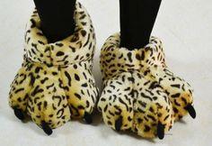 Leopard Fuzzy Lion Paw Animal Slippers [3312] size M