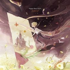 Illustration Enfant Happy New Year ^^ … Art And Illustration, Korean Illustration, Illustrations And Posters, Peter Pan, Kim Min Ji, The Little Prince, Beautiful Drawings, Cute Art, Art Sketches