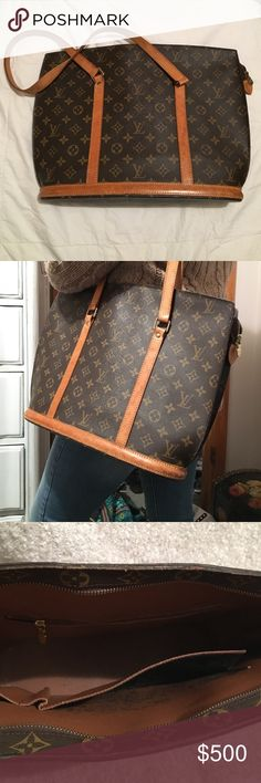 L.V. Babylon Tote Authentic Louis Vuitton Babylon bag. Inside pocket is sticky but can be fixed. Leather has character. Straps are secure, all zippers present and functional. Second photo shows size. Louis Vuitton Bags Shoulder Bags