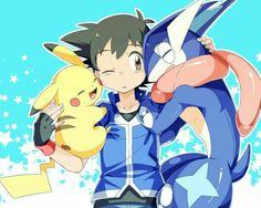 Ash with Pikachu and Greninja