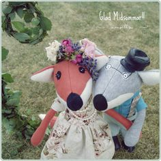 Oma Inga und Opa Bertil Fuchs feiern Mittsommer Christmas Ornaments, Sewing, Holiday Decor, Home Decor, Fox, Pictures, Dressmaking, Decoration Home, Couture