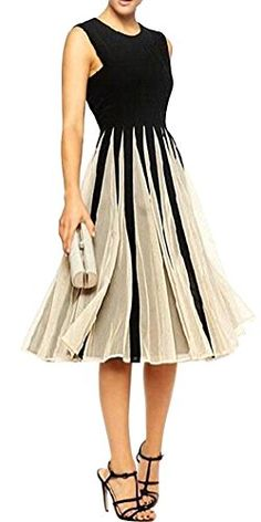 Woman Aline Ladies Sleeveless Party Prom Cocktail Dress Multicolored Large >>> Check out the image by visiting the link.