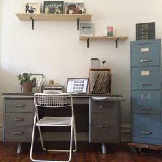 Vintage Industrial Mid-Century Steel Tanker Desk. $300