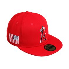 buy online 651c5 b92c6 Exclusive New Era 59Fifty Los Angeles Angels USA Side Flag Game Hat - Red,