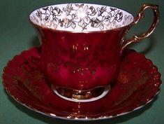 Royal Albert Spectacular Red Gold Tea Cup and Saucer. Tea Cup Set, My Cup Of Tea, Tea Cup Saucer, Royal Albert, China Tea Sets, Teapots And Cups, Chocolate Pots, High Tea, Kitsch