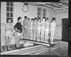 1950s Camp pool often no costume's allowed for boys in those days