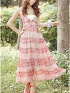 Colorblocked V-Neck Maxi Dress