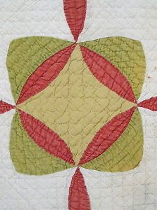 Detail, Old Vintage Antique Hand Stitched Diamond Circle Flower Geometric Quilt Blanket   eBay, two-cool-dudes