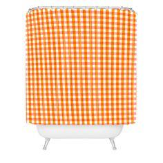 Caroline Okun Peachy Gingham Shower Curtain | DENY Designs Home Accessories