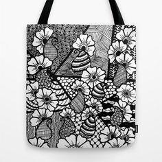 Tote Bag Paisley Zentangle & Blumen Einkaufstasche von ArtByJazz, €25.00