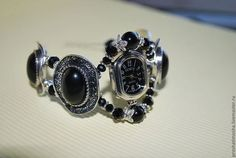 часы-браслет черный агат - чёрный,часы,браслет с камнями,часы-браслет