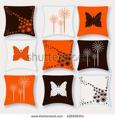 Set of cushions for interior vector illustration. Pillow isolated on white background. Floral pattern , pattern butterfly stock vector.Pillow flat style.For the interior