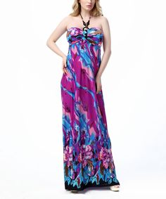Purple Floral Bandeau Maxi Dress - Plus Too