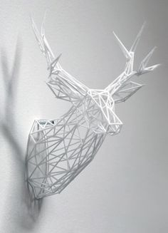 3-D Printed Stag Sculpture  | Fabneo - an online boutique for 3D printed jewelry, art & lighting on www.fabneo.com. Not sure if I should pin this under 3D Printing or Office Decorations :-)