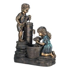 Water Fountain Dog Wash With Children Boy And Girl Garden Lawn Yard Home Decor #HomeLocomotion http://stores.ebay.com/Inviting-Life
