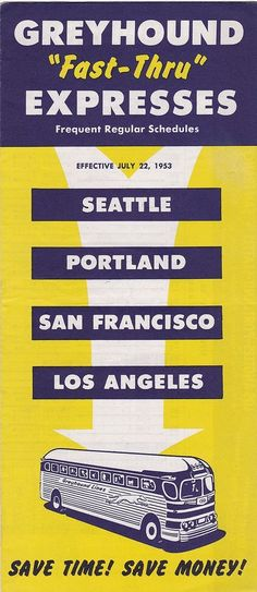 Vintage Greyhound  Fast-Thru  Expresses Bus Schedule July 1953, Leaflet