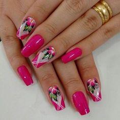 Pink unhas simples e lindas, unhas chiques, unhas bonitas, unhas lindas, un Flower Nail Designs, Pink Nail Designs, Flower Nail Art, Beautiful Nail Designs, Gorgeous Nails, Pretty Nails, Spring Nails, Summer Nails, Wedding Nails Design
