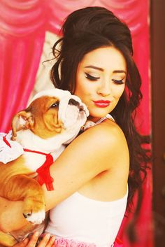 Shay Mitchell and her cute bulldog!