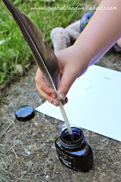 Sun Hats & Wellie Boots: How to Turn a Feather into a Quill Pen - Nature crafts for Kids