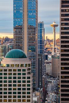 Seattle Space Needle Golden Sunset ~Mike Reid ~