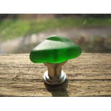 GREEN Beach Glass Cabinet KNOBS Sea Glass Cabinet Knobs Drawer Pulls