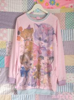 ManiaQ oversized pink kitten sweatshirt
