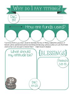 """YW SEPTEMBER: """"Why do we pay tithing?"""" lesson packet, including this fun… Youth Lessons, Fhe Lessons, School Lessons, Young Women Handouts, Young Women Lessons, Activity Day Girls, Activity Days, Yw Handouts, Sunday School Projects"""