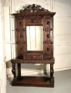 A-Superb-Quality-Victorian-Green-Man-Gothic-Carved-Oak-Hall-Stand