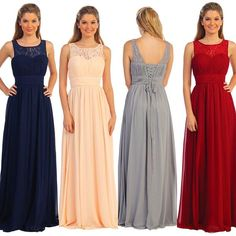 Affordable Long Chiffon & Lace Corset Bridesmaid Dress with Ruched Lace Bodice Navy, Burgundy, Silver, Peach