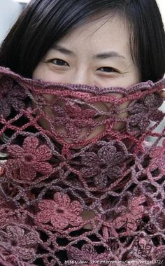 Crochet Tutorial - Excellent photos show how to make this lovely flowered scarf or shawl.