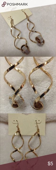 "True Love ""Gold Tone Earrings"" True Love 3"" long earrings. Twisted loops & love knot at bottom with faux diamonds look. Sophia & Kate Accessories"