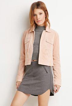 Genuine Suede Open-Front Jacket