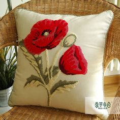 Coquelicot Flower Embroidery Pillow