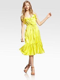 Milly - Adrienne Silk Ruffle Dress - Saks.com