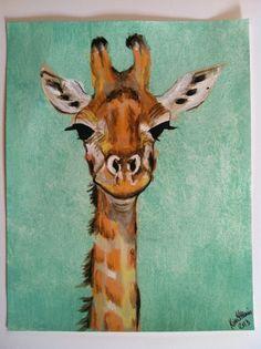 Giraffe - Original Acrylic Painting on Acrylic Paper - 11x14 on Etsy, $80.00  teheheheh he's amazing!