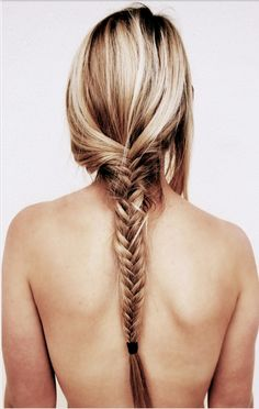 Long, boho fishtail braid