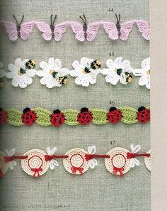 libelula: crochet garland: hats & dragon flies, bumble bees & daisies, butterflies, and lady bugs & leaves