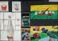 in the second sheet Anna focued on everyday objects and was inspired by pop art and looked at ketchup bottles and a french fry packet and used watercolours. On the other side of the page she studied the work of Martiros Saryan and using acrylics she did a study from the artists work and followed with a study of her own adopting a similar colour scheme