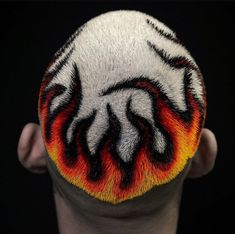 Check out these 25 cool buzz cut styles for clean cut and out there looks. Add a taper fade, fade or line up. Or go bold with color or hair designs. Hair Colour Design, Mens Hair Colour, Cool Hair Color, Fire Hair Color, Dyed Hair Men, Dye My Hair, Buzz Cut Styles, Shaved Head Designs, Flame Hair