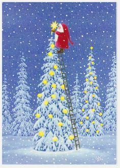Eva Melhuish, Santa Putting Star on Tree Swedish Christmas, Noel Christmas, Vintage Christmas Cards, Christmas Pictures, Xmas Cards, Winter Christmas, Christmas Crafts, Christmas Decorations, Illustration Noel