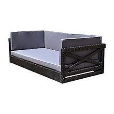 Best Outdoor Black Wicker Furniture and Black Rattan Furniture! We have a huge variety of black wicker porch swings, sofa sets, sectional sofas, rocking chairs, love seats, and more. Wicker Porch Swing, Hanging Swing Chair, Porch Swings, Wicker Patio Furniture Sets, Wicker Dining Set, Dining Sets, Rattan Loveseat, Wicker Couch
