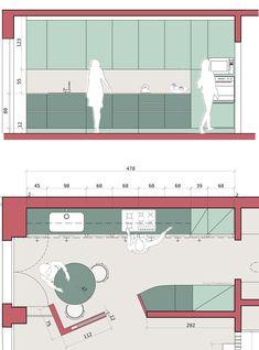 disegno di progetto: cucina su misura Concept Models Architecture, Architecture Details, Interior Architecture, Diy Furniture Projects, Furniture Layout, Furniture Design, Kitchen Layout, Kitchen Design, Hd House