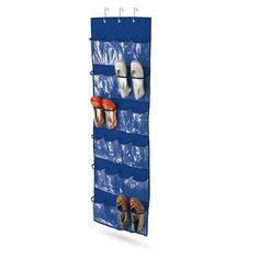 Honey Can Do 24 pocket over-door shoe organizer, polyester, navy