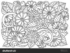 Doodle floral pattern in black and white. Page for coloring book. Zendoodle drawing.