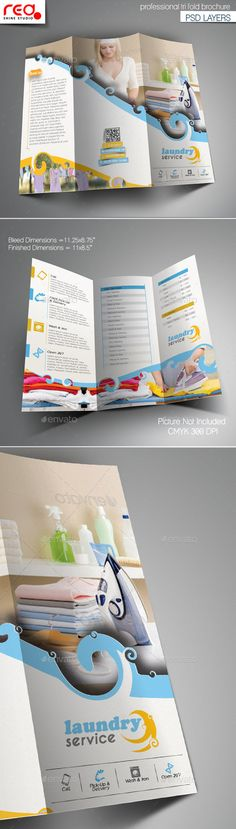 Laundry Service Trifold Brochure Template - Corporate Brochures
